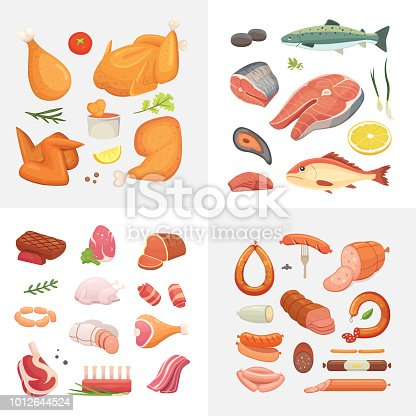 Different kind of meat food icons set vector. Raw ham, set grill chicken, piece of pork, meatloaf, whole leg, beef and sausages. Salmon fish and seafood