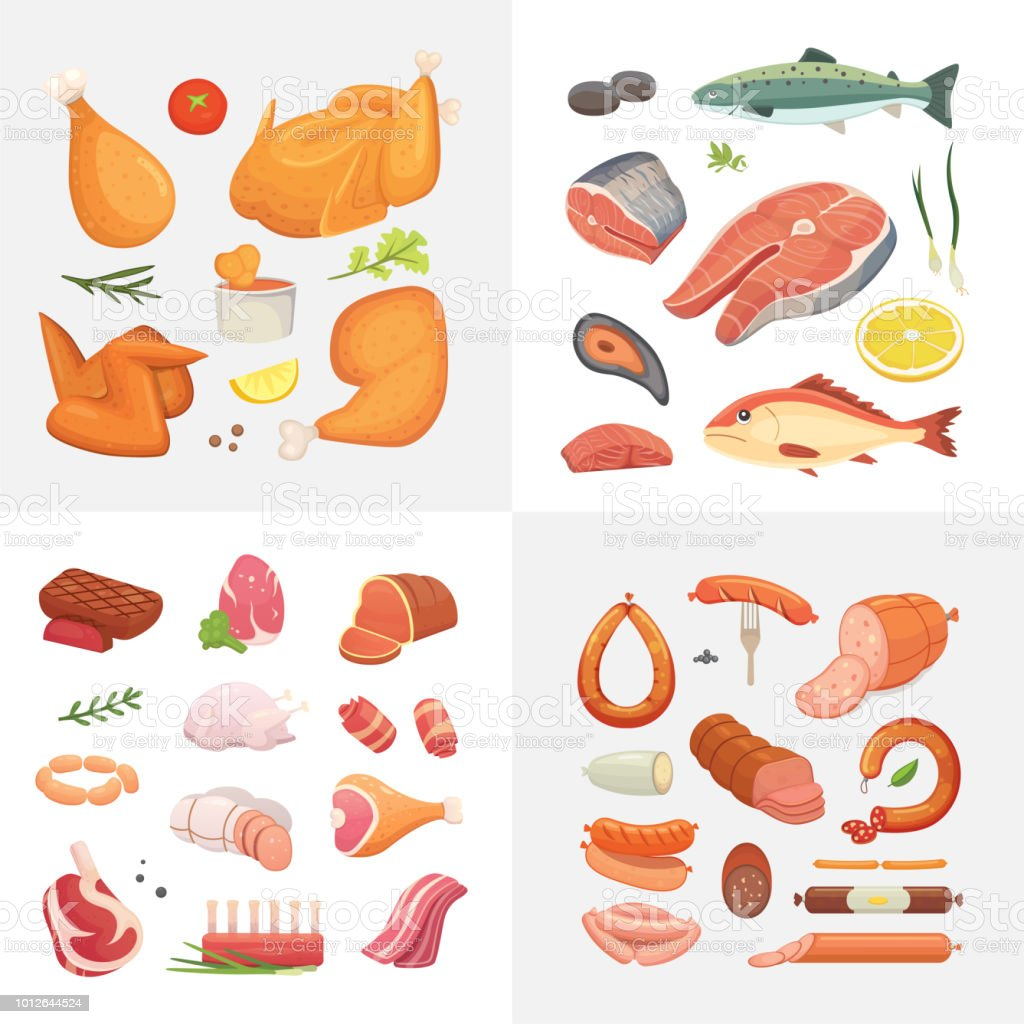 Different kind of meat food icons set vector. Raw ham, set grill chicken, piece of pork, meatloaf, whole leg, beef and sausages. Salmon fish and seafood. vector art illustration