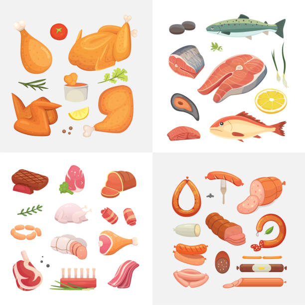Different kind of meat food icons set vector. Raw ham, set grill chicken, piece of pork, meatloaf, whole leg, beef and sausages. Salmon fish and seafood. Different kind of meat food icons set vector. Raw ham, set grill chicken, piece of pork, meatloaf, whole leg, beef and sausages. Salmon fish and seafood poultry stock illustrations