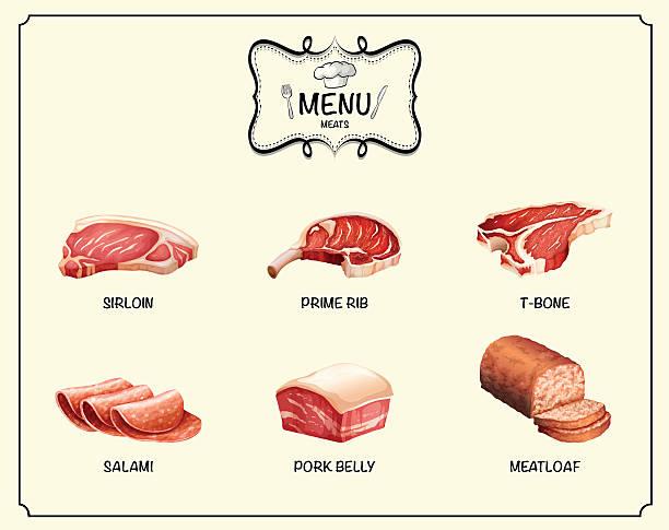 andere art von fleisch-produkte - schweinebauch stock-grafiken, -clipart, -cartoons und -symbole