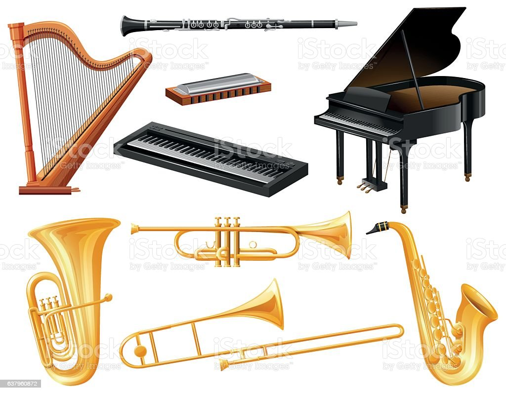 Different kind of musical instruments vector art illustration