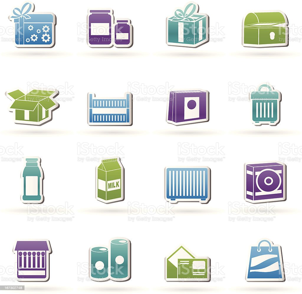 different kind of package icons royalty-free stock vector art