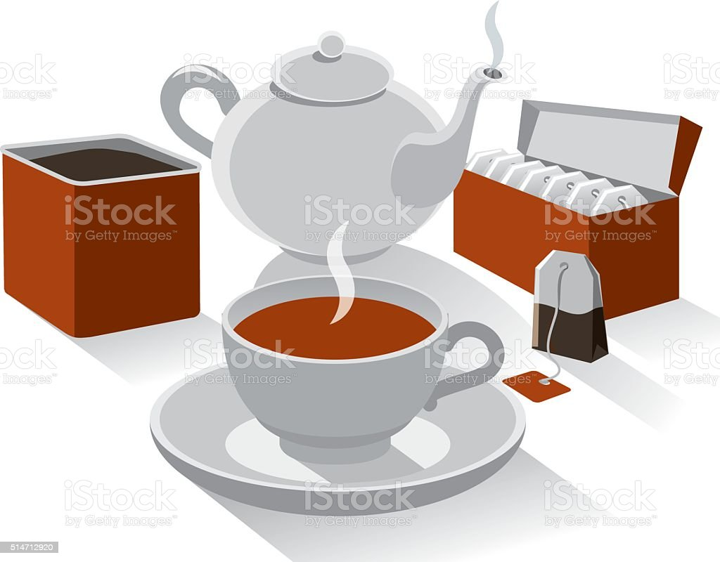 different kind of tea vector art illustration