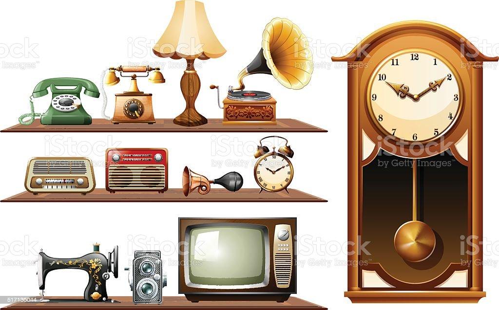 Diferentes tipos de objetos antiguos arte vectorial de for Compra de objetos antiguos