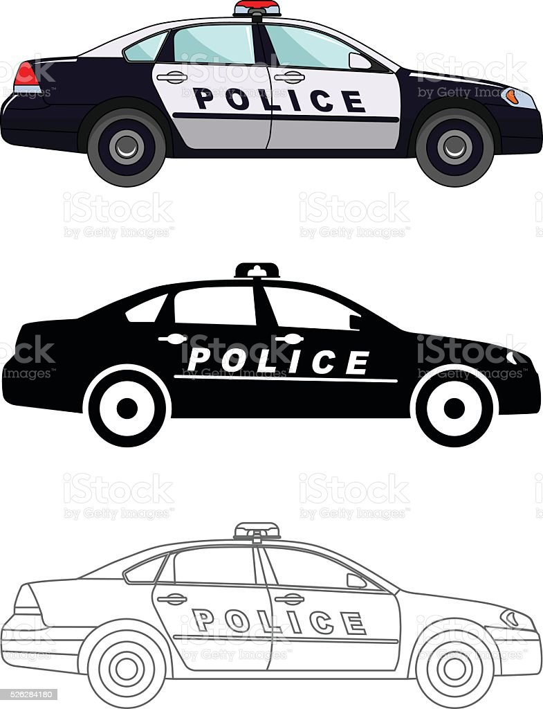 Different kind police cars isolated on white background. vector art illustration