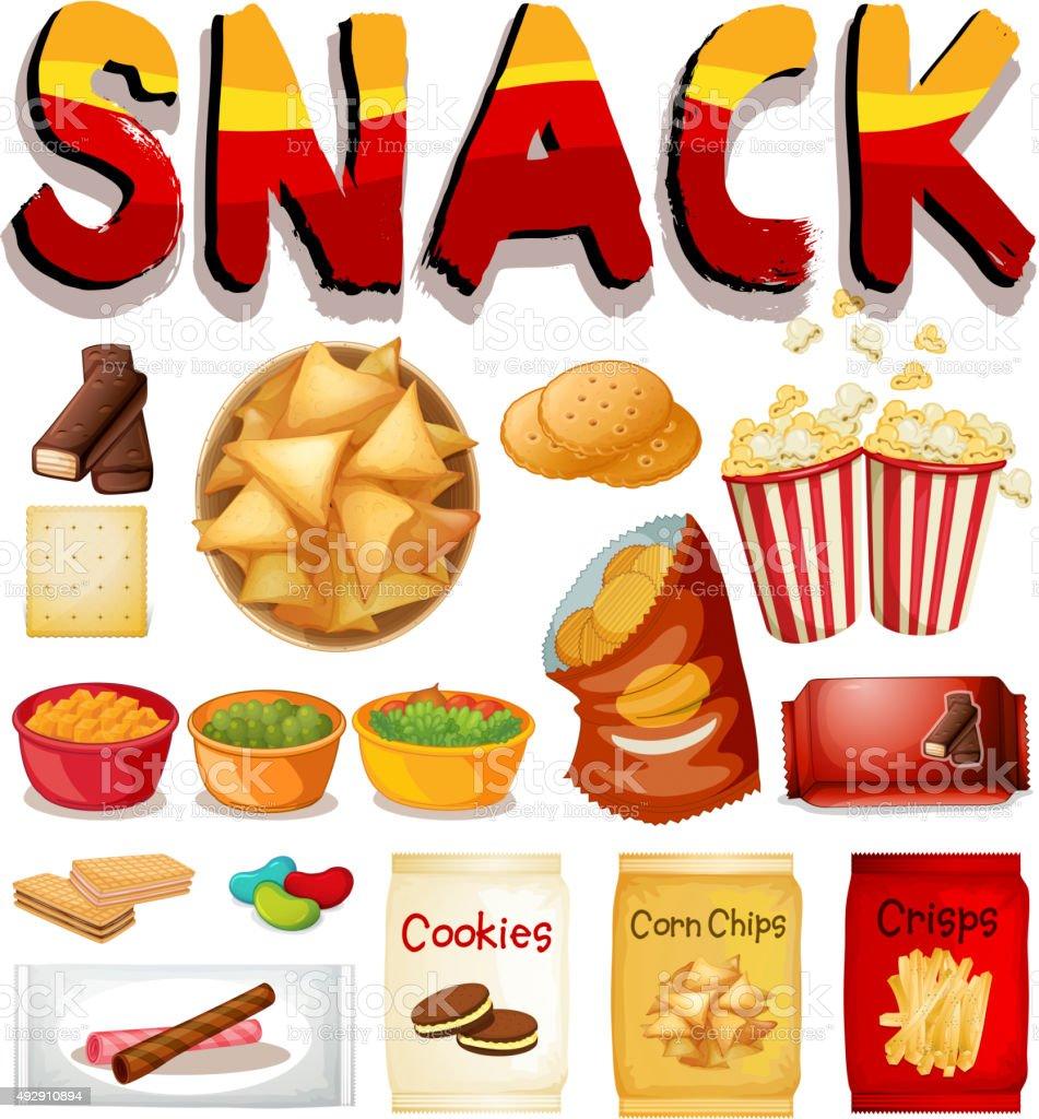 Different kind  snack vector art illustration