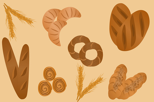 Different Kinds Of Bakery Items With loafs, Baguettes, Croissants And Cinnamon Rolls On Yellow Background