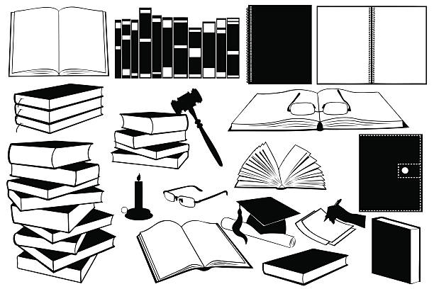 Different kinds of books and accessories Illustration of different kinds of books and accessories isolated book silhouettes stock illustrations