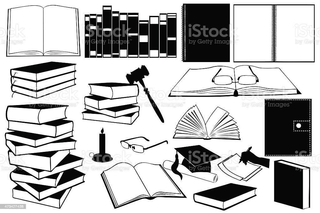 Different kinds of books and accessories vector art illustration