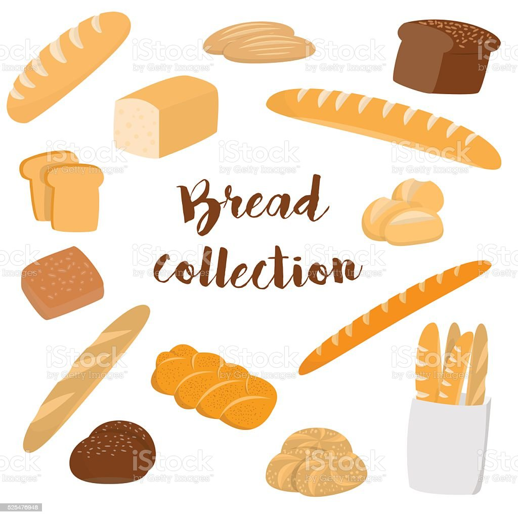 Different kinds of bread isolated on white vector art illustration