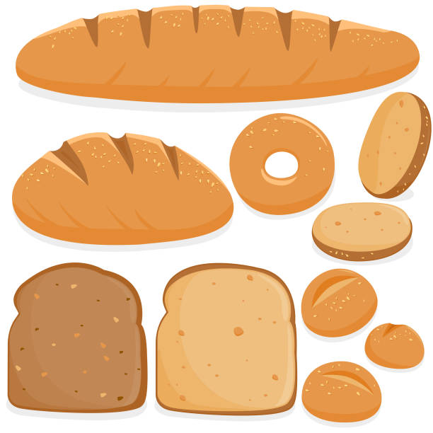 ilustrações de stock, clip art, desenhos animados e ícones de different kinds of bread - inteiro
