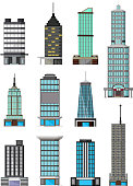 vector illustration of different kinds of buildings cartoon