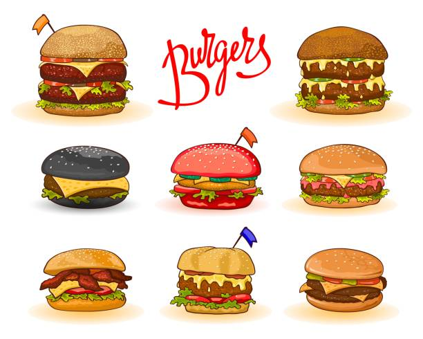 Different kinds of burgers: hamburger, cheeseburger, big, double, red, black, with chicken, bacon, Set Different kinds of burgers with lettering: hamburger, cheeseburger, big, double, red, black, chicken, bacon, decorated little flags. Vector cartoon set isolated. Can be used for packing recipe menu cheeseburger stock illustrations