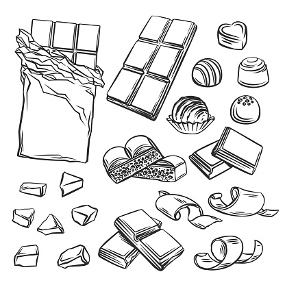 Different kinds of chocolate vector illustration. Drawn chocolate bars, candies, chips and porous.