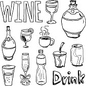 Different kinds of drinks in sketching style, black and white
