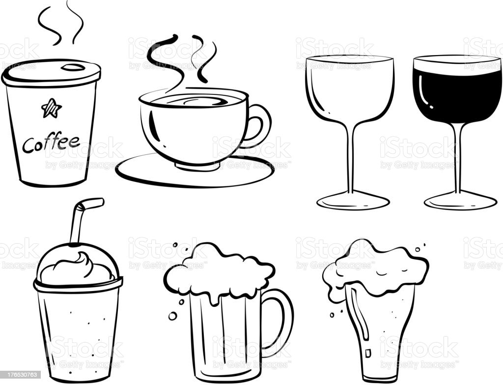 Different kinds of drinks royalty-free stock vector art