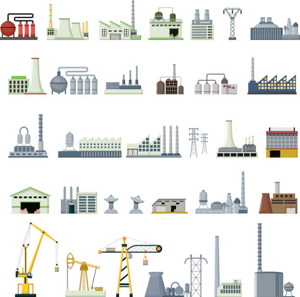 different kinds of factory vector illustration of set different kinds of factory power station stock illustrations