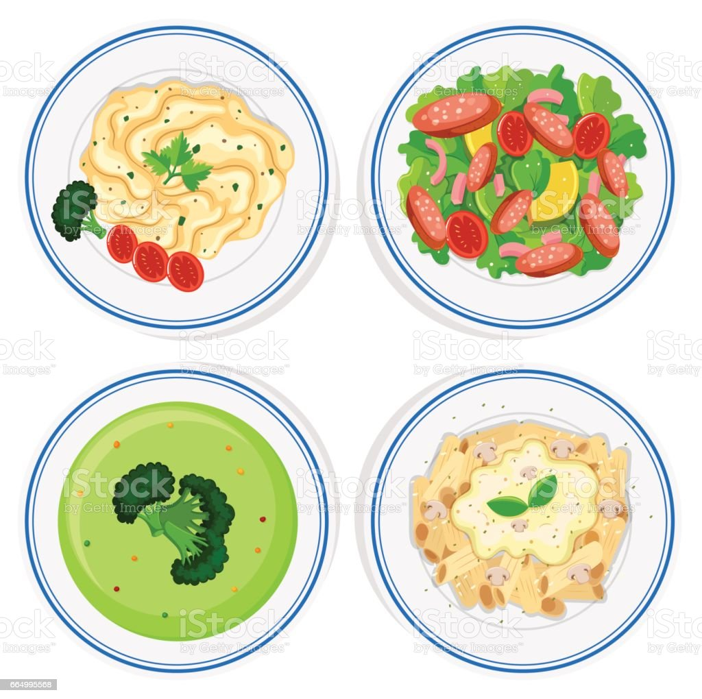 Different kinds of food on plate vector art illustration
