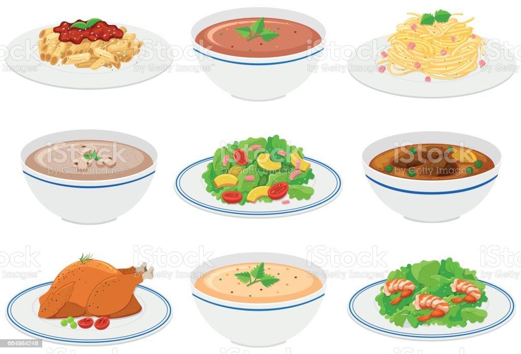 Different kinds of food on plates and bowls - ilustração de arte em vetor