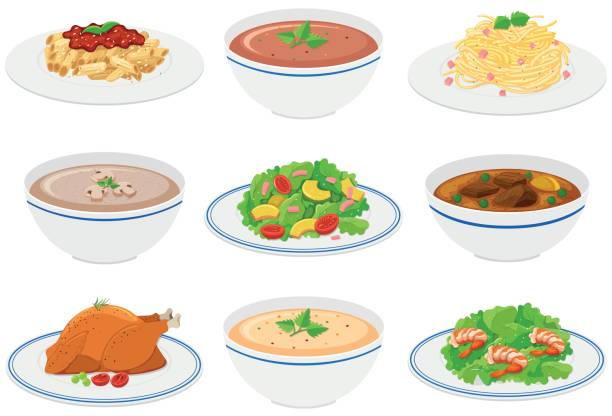 Different kinds of food on plates and bowls vector art illustration