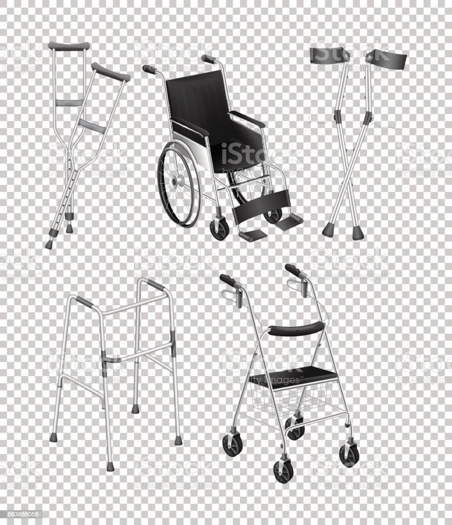 Different kinds of handicap equipments vector art illustration