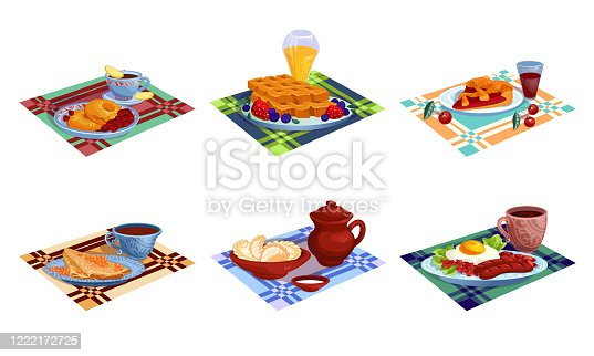 Set of isolated hand drawn different kinds of healthy fresh breakfasts meals over white background vector illustration. Healthy food and clean eating illustrations concept