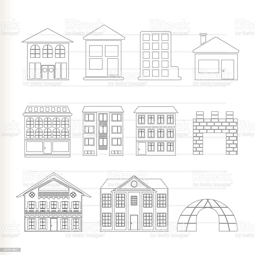 Diferentes tipos de casas e pr dios arte vetorial de acervo e mais imagens de 2015 537615621 - Distintos tipos de casas ...