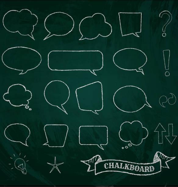 sprechblase auf tafel - kreide stock-grafiken, -clipart, -cartoons und -symbole