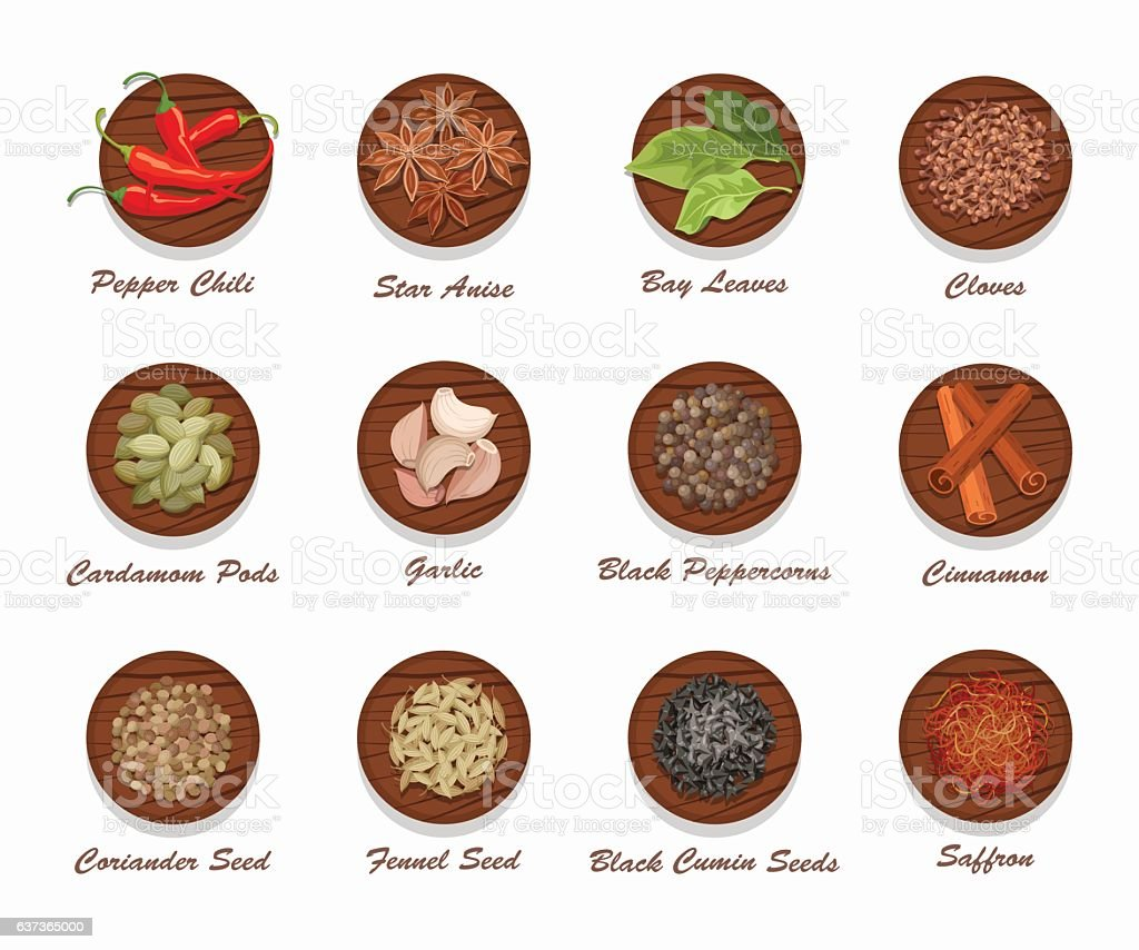 Different kinds of spices on wooden board. Realistic vector illustration. vector art illustration