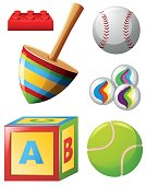 Different kinds of toys and balls
