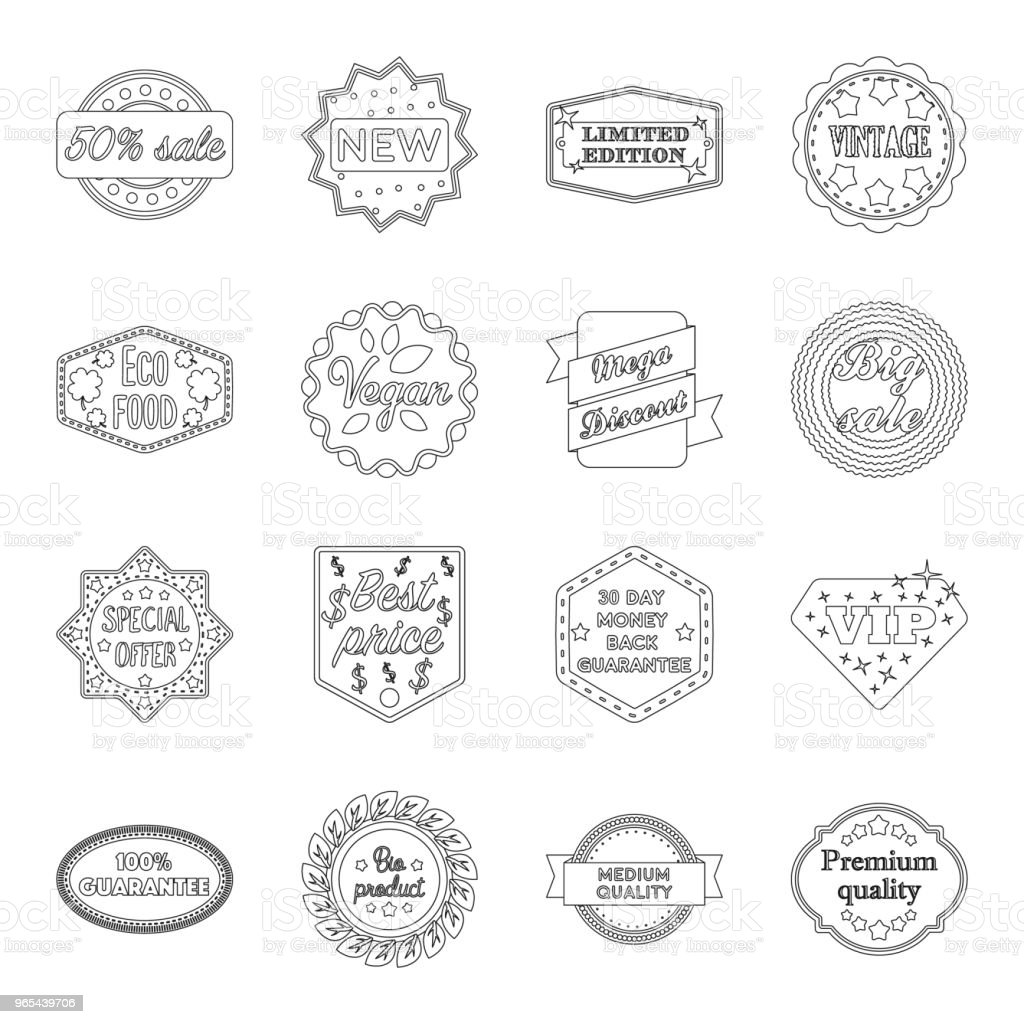 Different label outline icons in set collection for design. Index and brand vector symbol stock web illustration. different label outline icons in set collection for design index and brand vector symbol stock web illustration - stockowe grafiki wektorowe i więcej obrazów akcesorium osobiste royalty-free