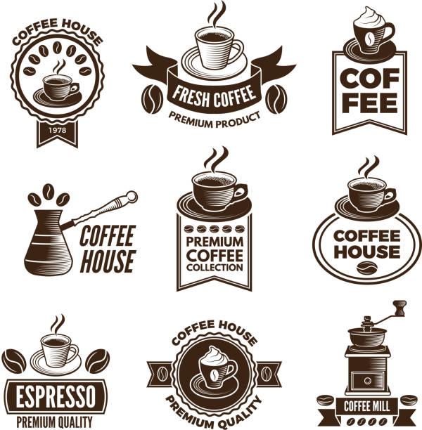ilustrações de stock, clip art, desenhos animados e ícones de different labels set for coffee house. pictures of cups of coffee and caffeine beans - coffe shop