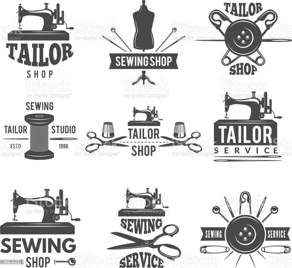 Différents labels pour atelier de couture - Illustration vectorielle