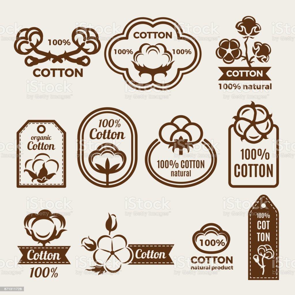 Verschiedene Labels Set Mit Stilisierte Darstellungen Von Baumwolle ...