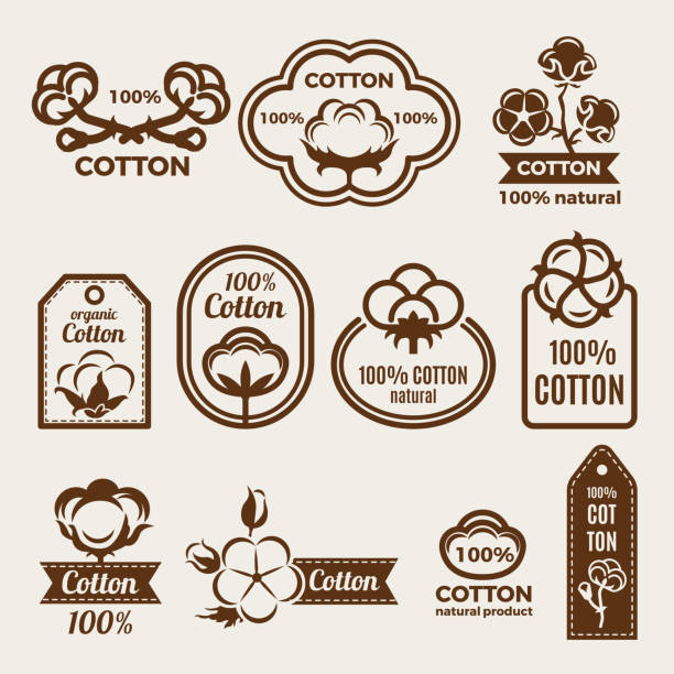 different labels set with stylized illustrations of cottons. design template of vector badges for clothes - cotton stock illustrations, clip art, cartoons, & icons