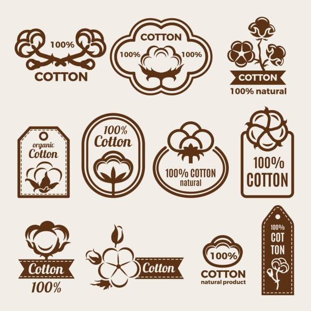 Verschiedene Labels set mit stilisierte Darstellungen von Baumwolle. Design-Vorlage von Vektor-Abzeichen für Kleidung – Vektorgrafik