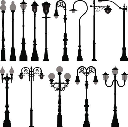 Different lamp light posts on a white background
