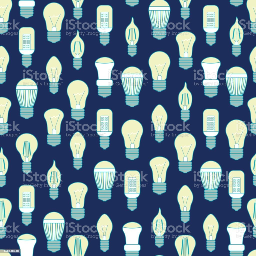 Different Lamp or Light Bulbs Line Background Pattern. Vector vector art illustration