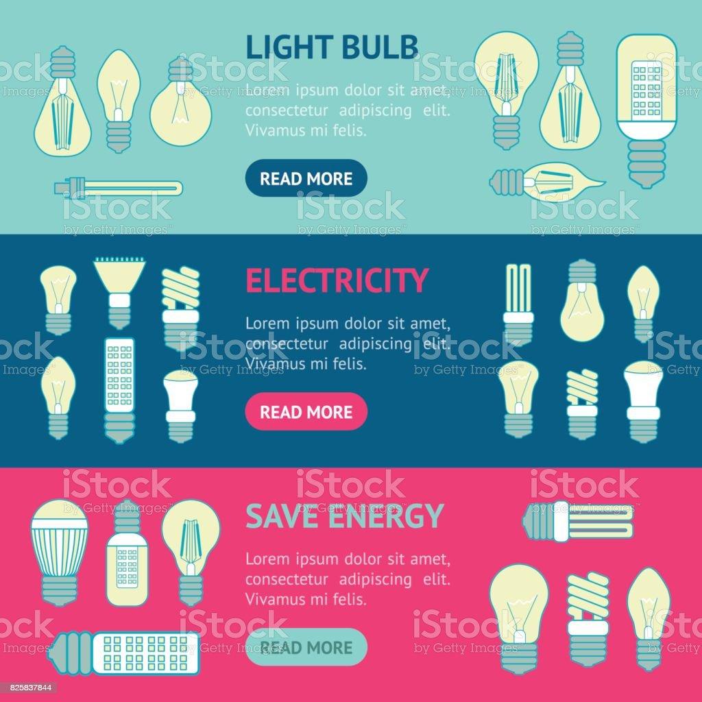 Different Lamp or Light Bulbs Line Banner Horizontal Set. Vector vector art illustration