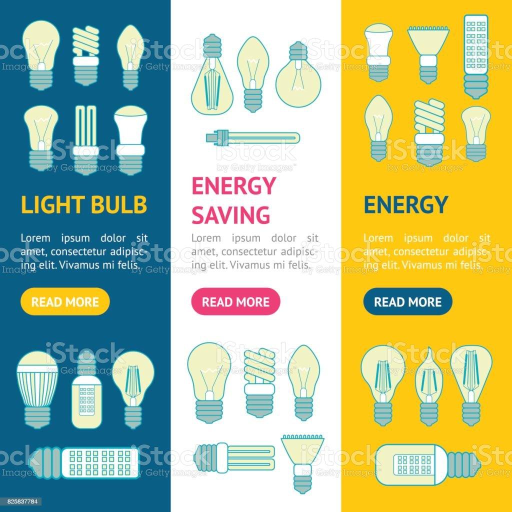 Different Lamp or Light Bulbs Line Icons Banner Vecrtical Set. Vector vector art illustration