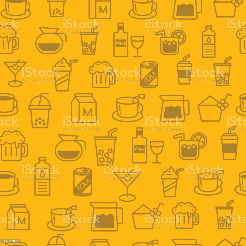 Different line style icons seamless pattern, baverage vector art illustration