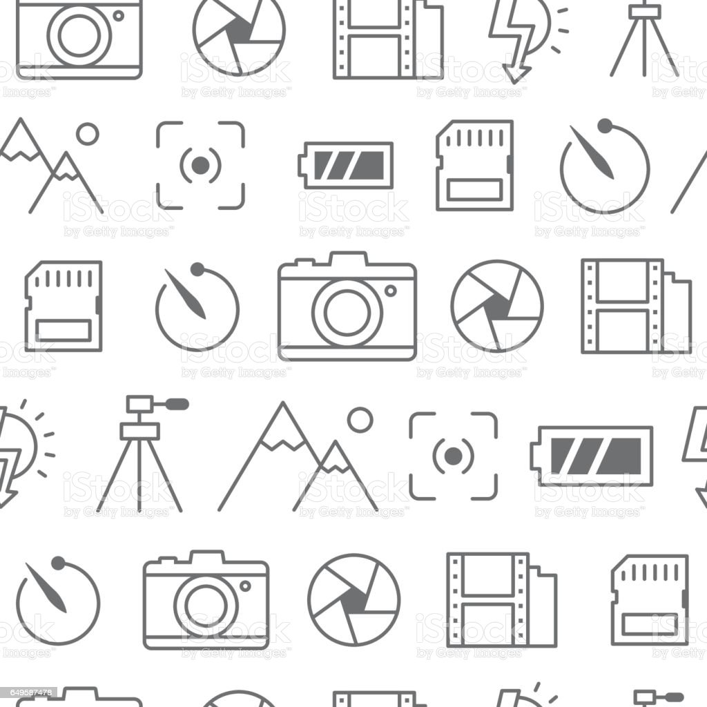 Different line style icons seamless pattern, Camera vector art illustration