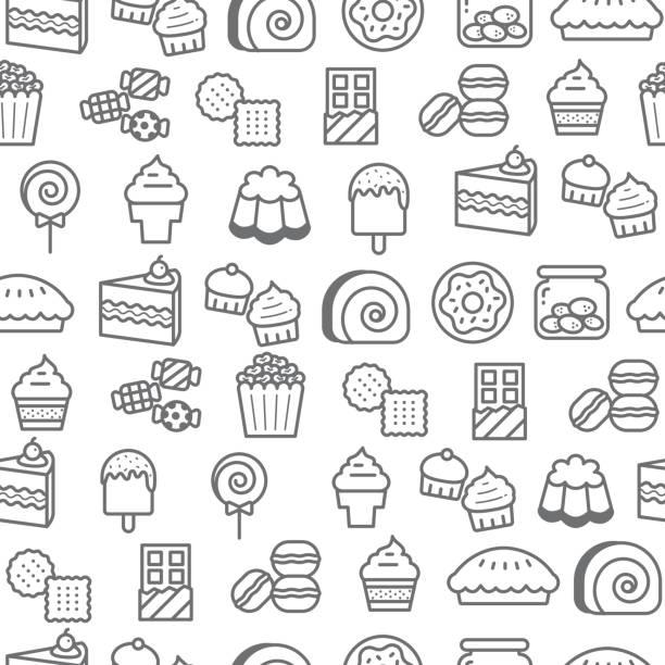 verschiedene symbole nahtlose linienstilmuster, dessert - tortenriegel stock-grafiken, -clipart, -cartoons und -symbole