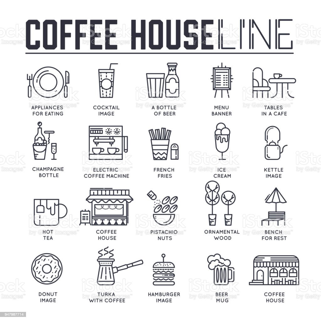 Different linedrawn icons dedicated to food and coffee house layout different line drawn icons dedicated to food and coffee house layout modern vector background malvernweather Gallery