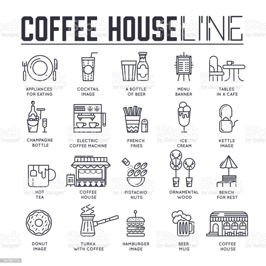 Verschiedene Linien Symbole Essen Und Kaffee Haus Gewidmet Layout ...