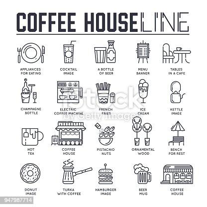 Verschiedene linien symbole essen und kaffee haus gewidmet for Coffee shop design software