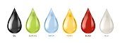 Different liquids drops. Colorful droplets of oil, honey and milk, water. Petrol and blood falling drop realistic, gold and white lubricant ink colors dropped vector set