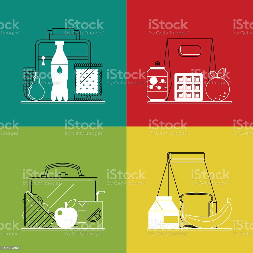 Different lunchboxes on colorful background. vector art illustration