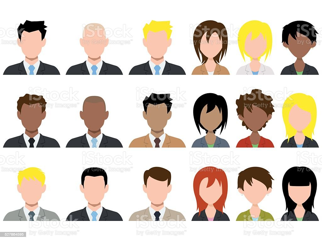 Different male and female avatar vector art illustration