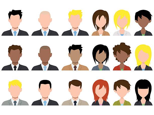 stockillustraties, clipart, cartoons en iconen met different male and female avatar - kaal geschoren hoofd